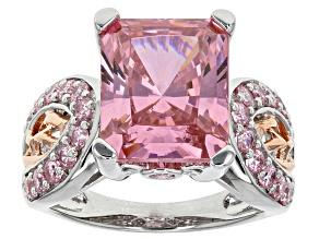 Pre-Owned Pink And White Cubic Zirconia Rhodium And 18k Rose Gold Over Sterling Ring 13.26ctw
