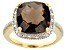 Pre-Owned Brown Smoky Quartz 18k Yellow Gold Over Sterling Silver Ring 6.10ctw