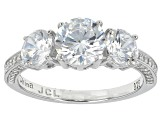 Pre-Owned White Cubic Zirconia Rhodium Over Sterling Silver Ring 4.06ctw