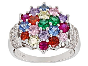 Pre-Owned Blue Synth Spinel/Green Nanocrystal/Synth Ruby/Multicolor Cz Rhod Over Sterling Ring 3.03c