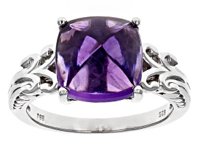 Pre-Owned Purple Amethyst Silver Ring 4.40ct