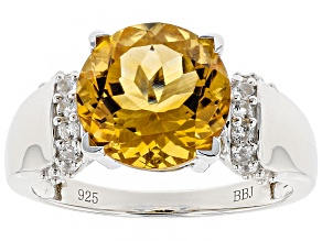 Pre-Owned Yellow Citrine Sterling Silver Ring 3.08ctw
