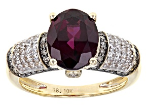 Pre-Owned Grape Color Garnet 10k Yellow Gold Ring 2.90ctw