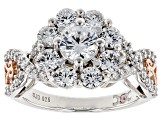 Pre-Owned White Cubic Zirconia Rhodium Over Silver & 18k Rose Gold Over Silver Ring 3.63ctw