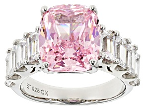 Pre-Owned Pink And White Cubic Zirconia Rhodium Over Sterling Silver Ring 13.16ctw