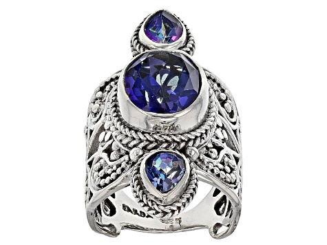 Pre-Owned English Blue™ Mystic Quartz® Silver Ring 4.65ctw