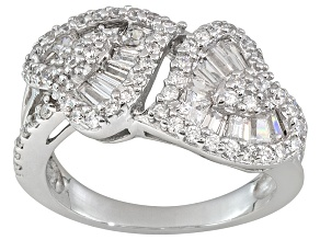 Pre-Owned Bella Luce ® 1.66ctw Round, Square And Baguette, Rhodium Over Sterling Silver Ring