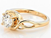 Pre-Owned Moissanite Fire® 1.20ct DEW Round 14k Yellow Gold Over Silver Ring