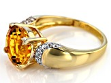Pre-Owned Yellow citrine 18k yellow gold over silver ring 3.72ctw