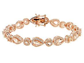 Pre-Owned Morganite Simulant And White Cubic Zirconia 18k Rose Gold Over Sterling Silver Bracelet 7.