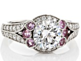Pre-Owned Moissanite Pink Sapphire Platineve Ring 1.82ctw DEW.