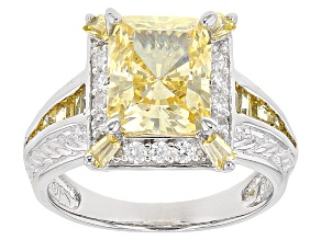 Pre-Owned Bella Luce ® 7.32ctw Canary Diamond Simulant Rhodium & 18k Yellow Gold Over Sterling Silve