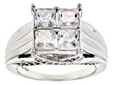 Pre-Owned White Cubic Zirconia Rhodium Over Sterling Silver Ring 3.96ctw