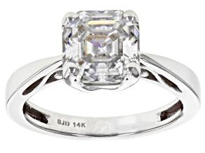 Pre-Owned Moissanite 14k White Gold Ring 2.96ct DEW.