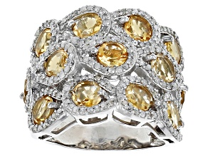 Pre-Owned Yellow Brazilian Citrine Sterling Silver Ring 6.80ctw