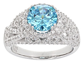 Pre-Owned Blue And White Cubic Zirconia Rhodium Over Sterling Silver Ring 4.99ctw