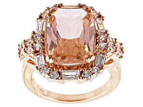 Pre-Owned Pink And White Cubic Zirconia 18k Rose Gold Over Silver Ring 9.56ctw