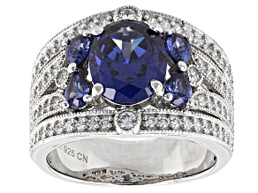 Pre-Owned Blue And White Cubic Zirconia Silver Ring 5.88ctw