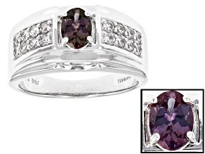 Pre-Owned Color Change Garnet Sterling Silver Mens Ring 1.53ctw