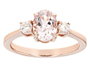 Pre-Owned Pink Morganite 18k Rose Gold Over Sterling Silver Ring 1.19ctw