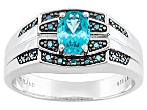 Pre-Owned Blue Apatite Sterling Silver Mens Ring .81ctw.
