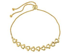 Pre-Owned 10k Yellow Gold Open Heart Sliding Adjustable Bracelet
