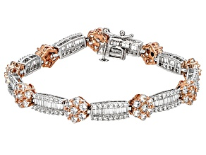 Pre-Owned Cubic Zirconia Silver And 18k Rose Gold Over Silver Bracelet 17.06ctw (11.38ctw DEW)