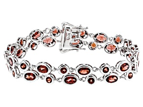 Pre-Owned Red Garnet Sterling Silver Bracelet 12.92ctw