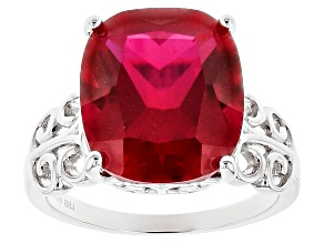 Pre-Owned Red Lab Created Ruby Sterling Silver Ring 8.20ct