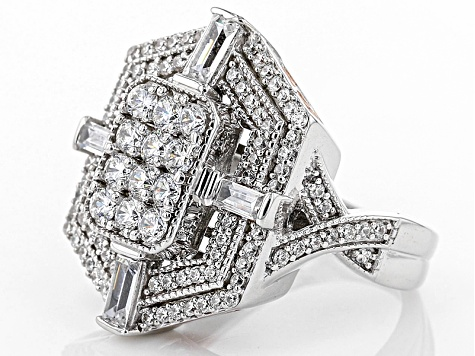 Pre-Owned Cubic Zirconia Silver And 18k Rose Gold Over Silver Ring 3.95ctw (2.32ctw DEW)