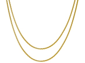 Pre-Owned 18k Yellow Gold Over Sterling Silver Popcorn Link Chain Set Of 2 18 inch 22 inch