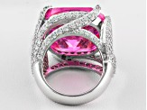 Pre-Owned Pink And White Cubic Zirconia Sterling Silver Cocktail Ring 32.32ctw