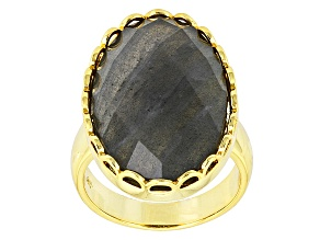 Pre-Owned Gray Labradorite 18k Yellow Gold Over Bronze Ring