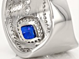 Pre-Owned Synthetic Blue Spinel And White Cubic Zirconia Rhodium Over Sterling Ring 2.58ctw