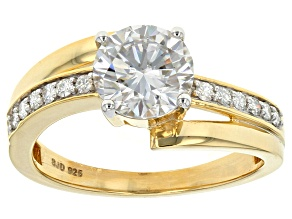 Pre-Owned Moissanite 14k Yellow Gold Over Silver Ring 1.62ctw DEW