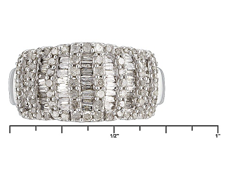 Pre-Owned Rhodium Over Sterling Silver Diamond Ring .84ctw