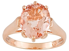 Pre-Owned 3.35ct 11x9mm Oval Pink Peach Morganite 14k Rose Gold Solitaire Ring