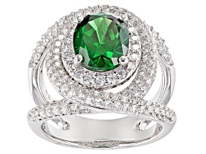 Pre-Owned Green And White Cubic Zirconia Rhodium Over Sterling Silver Ring 7.11ctw