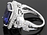 Pre-Owned Blue And White Cubic Zirconia Sterling Silver Ring 15.17ctw