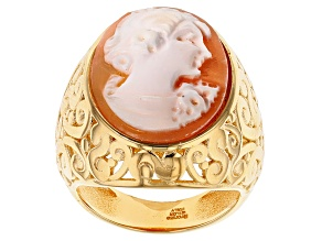 Pre-Owned 18k Yellow Gold Over Bronze Genuine Cameo With Swirl Design Ring