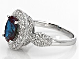 Pre-Owned Color Change Lab Created Alexandrite Sterling Silver Ring 2.55ctw