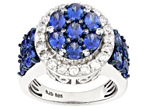 Pre-Owned Blue And White Cubic Zirconia Silver Ring 5.63ctw