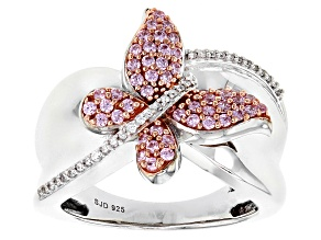 Pre-Owned Pink And White Cubic Zirconia Rhodium Over Sterling Silver Ring 0.90ctw