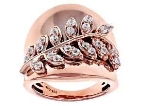 Pre-Owned White Cubic Zirconia 18k Rose Gold Over Sterling Silver Ring 1.35ctw
