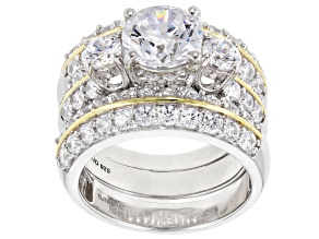 Pre-Owned White Cubic Zirconia Rhodium Over Silver & 18k Yellow Gold Over Silver Ring W/ Bands 8.31c