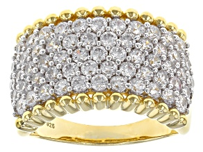 Pre-Owned White Cubic Zirconia 18k Yellow Gold Over Sterling Silver Ring 4.17ctw