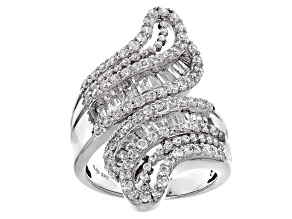 Pre-Owned White Cubic Zirconia Rhodium Over Sterling Silver Ring 3.84cctw