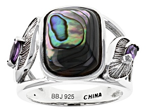 Pre-Owned Multicolor Abalone Shell Sterling Silver Ring .23ctw