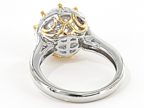 Pre-Owned White Cubic Zirconia Rhodium & 18k Yellow Gold Over Sterling Silver Ring 6.89ctw