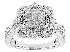 Pre-Owned White Diamond 10k White Gold Ring .99ctw